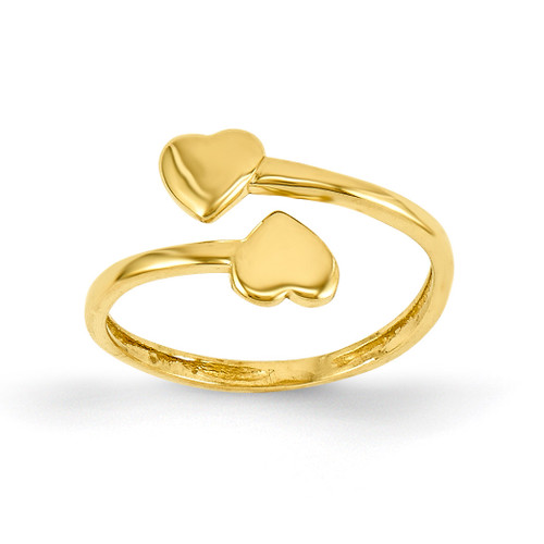 Double Heart Toe Ring 14k Gold D1935