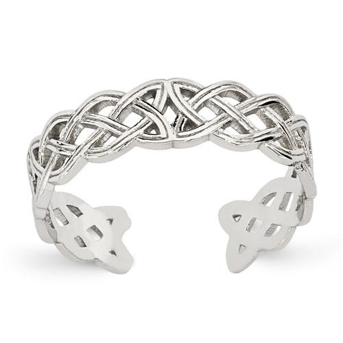 Celtic Knot Toe Ring 14k White Gold D1936