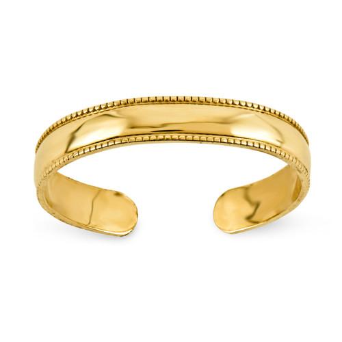 Mill Grain Adjustable Toe Ring 14k Gold D3075