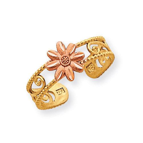 Flower Toe Ring 14k Two-Tone Gold D3091