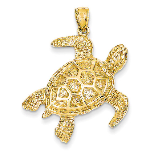 2-D Sea Turtle Pendant 14k Gold D4221