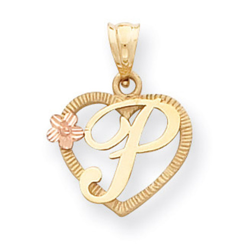 Initial P in Heart Charm 14k Two-Tone Gold D898P