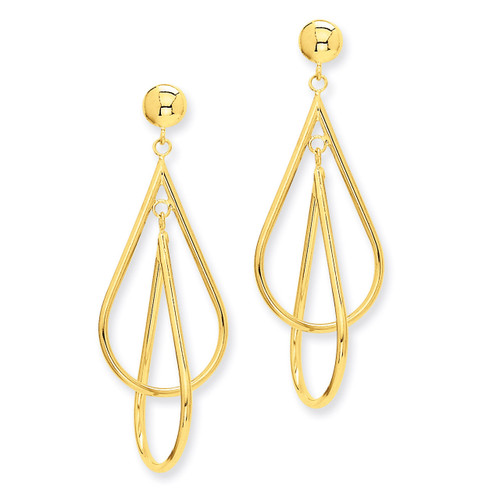 Double Teardrop Dangle Earrings 14k Gold E779