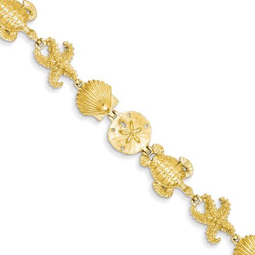 Sea Life Theme Bracelet 7.25 Inch 14k Gold FB1111-7.25