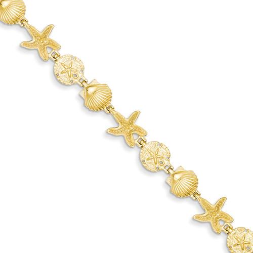 Seashell Theme Bracelet 7.5 Inch 14k Gold FB1142-7.5