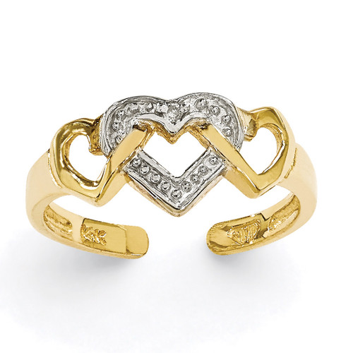 Diamond Heart Toe Ring 14k Gold Rhodium K2030