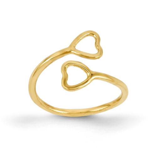 Double Heart Toe Ring 14k Gold K2032