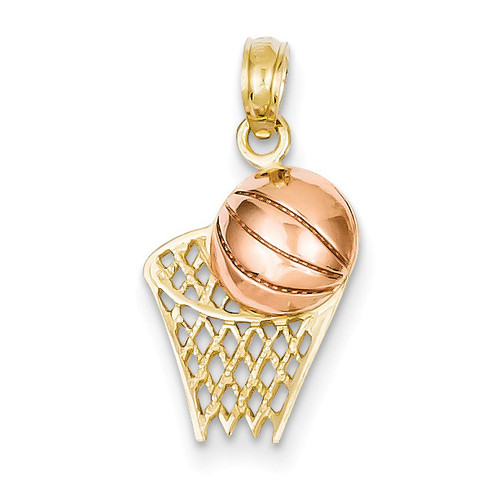 Basketball Hoop with Ball Pendant 14k Two-Tone Gold K2102