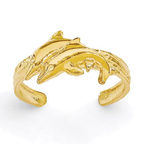 Dolphin Toe Ring 14k Gold K3834