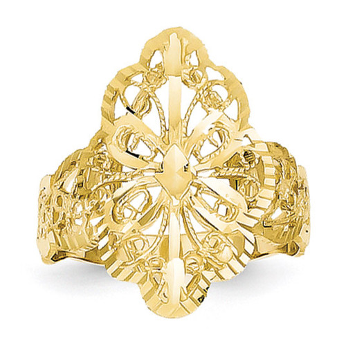 Diamond Cut Filigree Ring 14k Gold K3880