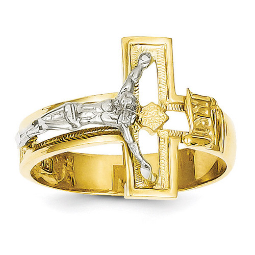 Crucifix Men's Ring 14k Two-Tone Gold K3971