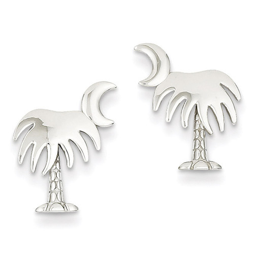 Charleston Palm Tree with Moon Post Earrings 14k White Gold K4474