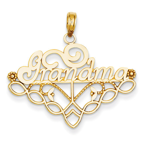 Grandma Birthstone Charm Holder Pendant 14k Gold K4723