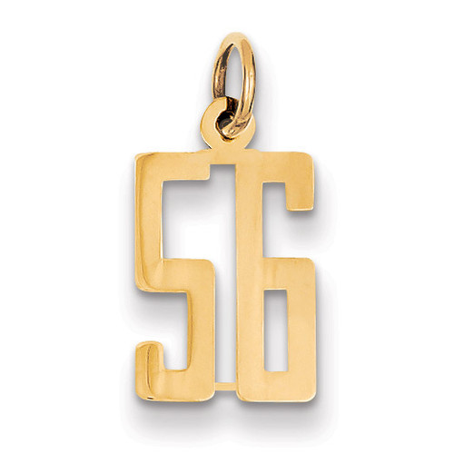 Small Polished Elongated 56 Charm 14k Gold LES56