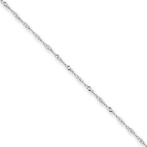 1mm Singapore Chain 16 Inch 14k White Gold PEN166-16