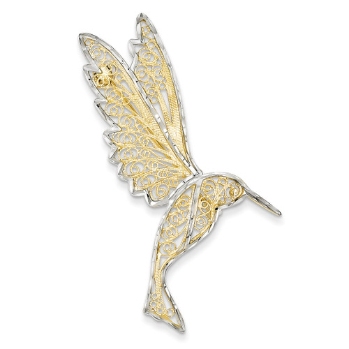 Diamond Cut Filigree Hummingbird Pin 14K Gold & Rhodium PIN168