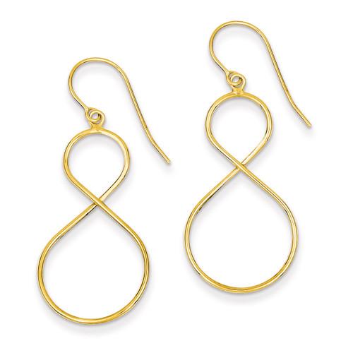 Twist Dangle Shepherd Hook Earrings 14k Gold PRE881