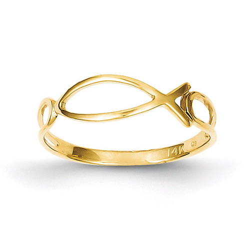 Ichthus Fish Ring 14k Gold Polished R135