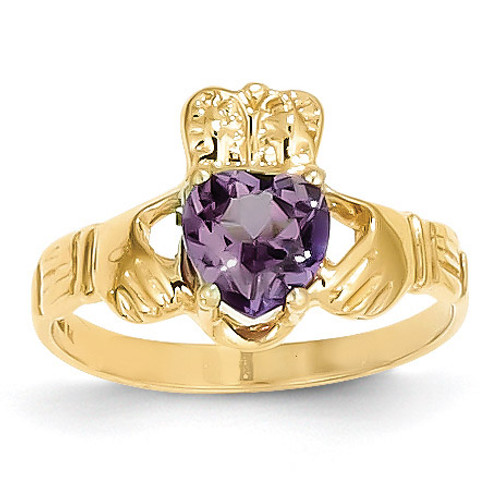 June Birthstone Claddagh Ring 14k Gold R492