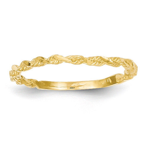 Textured Rope Band Ring 14k Gold Diamond-cut R543