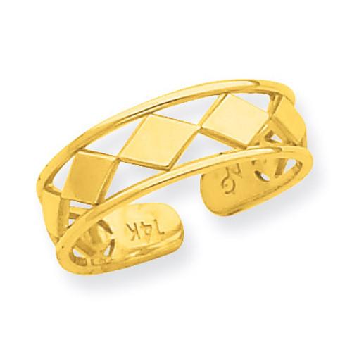 Diamond Shapes Toe Ring 14k Gold R550