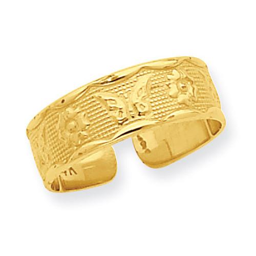 Flower & Butterfly Toe Ring 14k Gold R564