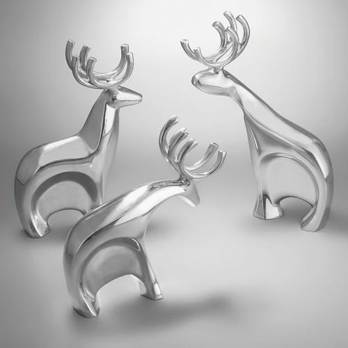 Nambe Blizten Reindeer Set Set of 3 Alloy