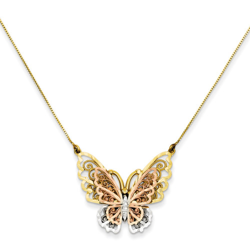 Butterfly Necklace 18 Inch 14k Yellow & Rose Gold with Rhodium SF2041-18
