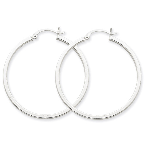 2mm Square Tube Hoops 14k White Gold T1079