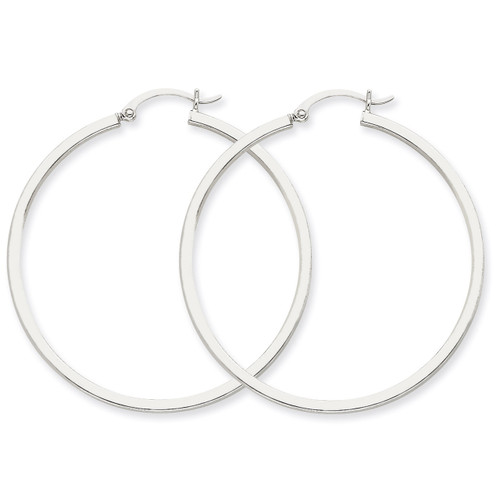 2mm Square Tube Hoops 14k White Gold T1080