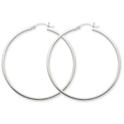 2mm Square Tube Hoops 14k White Gold T1081