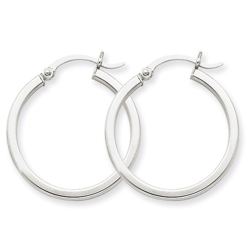 2mm Square Tube Hoops 14k White Gold T1084