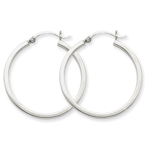 2mm Square Tube Hoops 14k White Gold T1085
