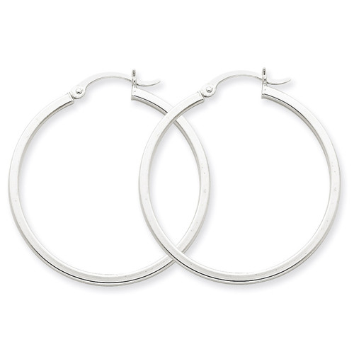 2mm Square Tube Hoops 14k White Gold T1086