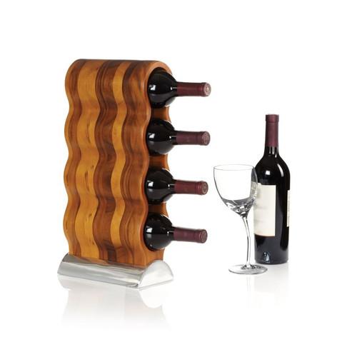 Nambe Curvo Wine Rack Alloy & Wood