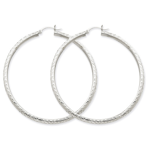 Diamond-cut 3mm Round Hoop Earrings 14k White Gold TC261