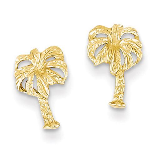 Palm Tree Post Earrings 14k Gold TC566