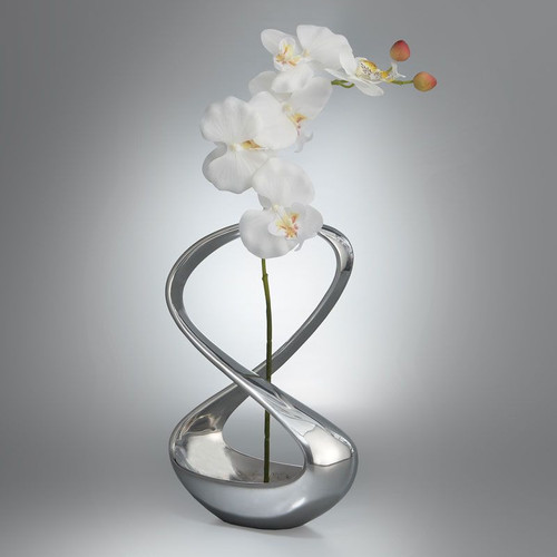 Nambe Infinity Vase with Silk Orchid 12 Inch All