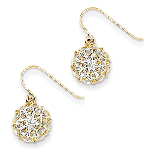 Polished and Textured Dangle Earrings 14K Gold & Rhodium TM739