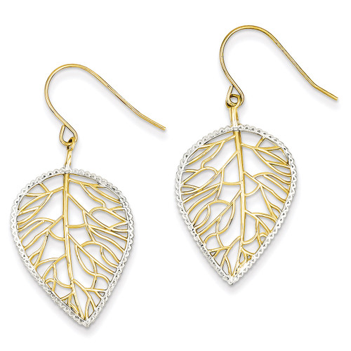 Leaf Drop Earrings 14K Gold & Rhodium TM764