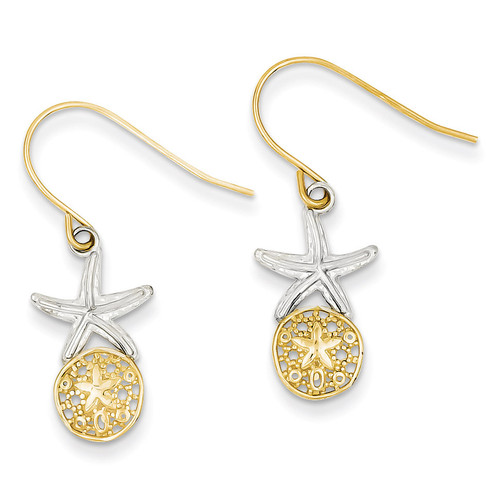 Starfish with Sand Dollar Shepherd Hook Earrings 14K Gold & Rhodium TM770