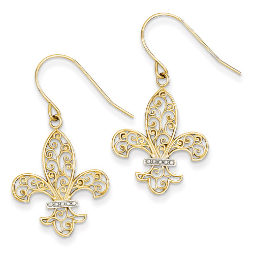 Fleur de lis Shepherd Hook Earrings 14K Gold & Rhodium TM793
