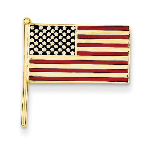 Enameled Flag Tie Tac 14k Gold TT38