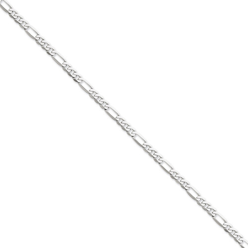 5.0mm Flat Figaro Chain 20 Inch 14k White Gold WFIG120-20