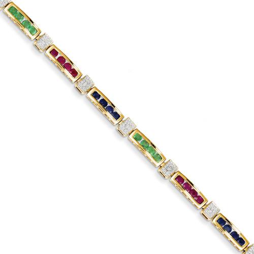 Diamond Completed Ruby/Sapphire/Emerald Fancy Bracelet 14k Gold X2694M/BB