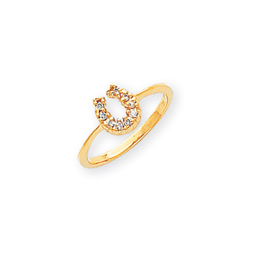 Diamond Horseshoe Ring 14k Gold Polished X5238AA