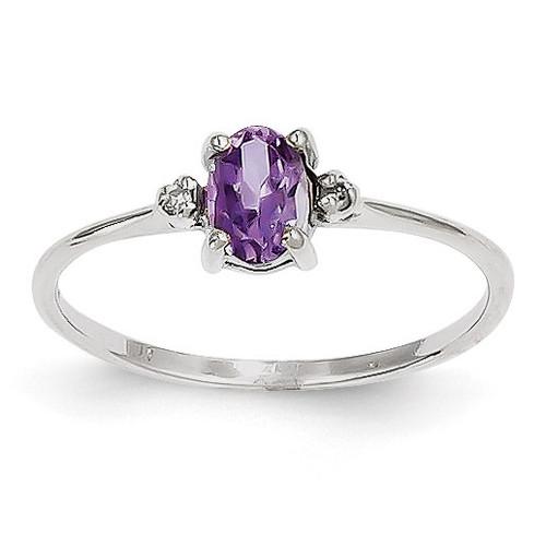 Diamond & Amethyst Birthstone Ring 14k White Gold XBR215