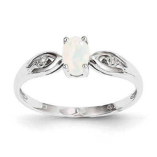 Opal Diamond Ring 14k White Gold Genuine XBS319