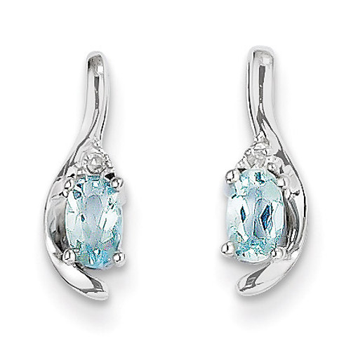 Aquamarine Diamond Earring 14k White Gold Genuine XBS379
