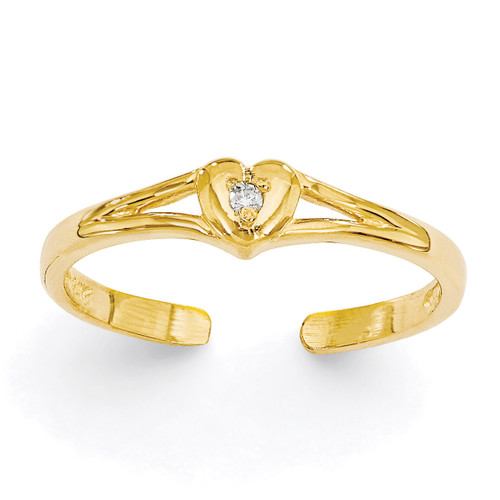 0.01ct Diamond Heart Toe Ring 14k Gold XCH627